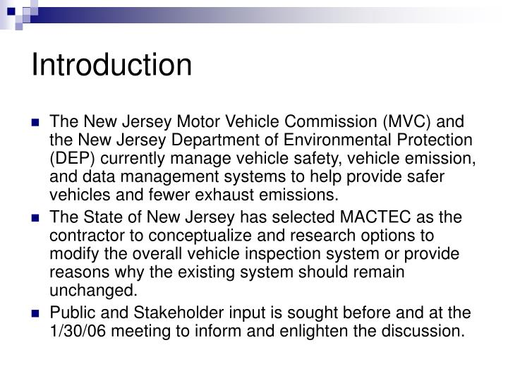 Ppt options scenarios enhanced inspection program 2006 for Motor vehicle inspection nj