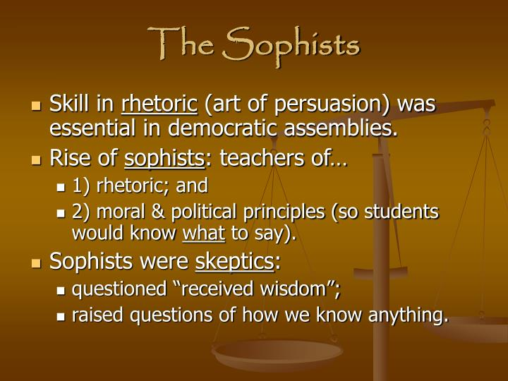 the sophists essay The sophist (greek: σοφιστής latin: sophista) is a platonic dialogue from the philosopher's late period, most likely written in 360 bc its main theme is to identify what a sophist is and how a sophist differs from a philosopher and statesman.