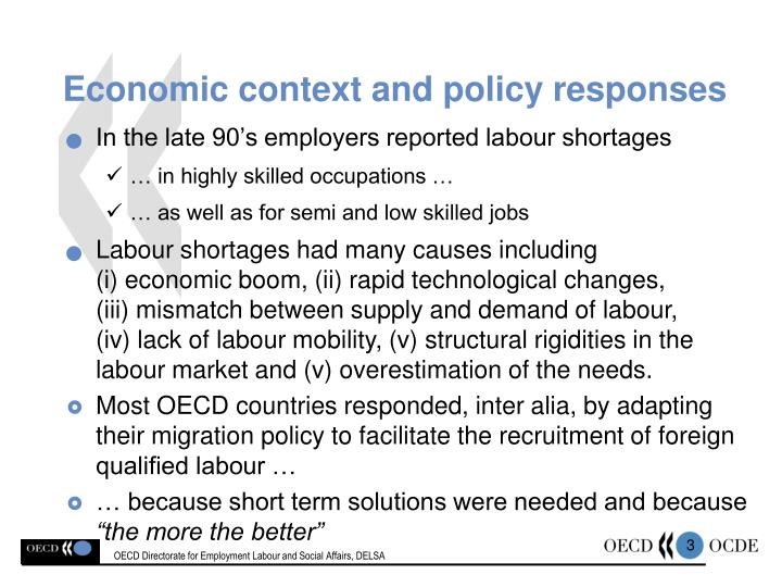 Economic context and policy responses
