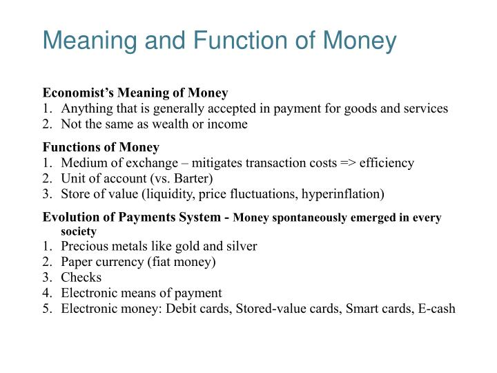 meaning and function of money n.