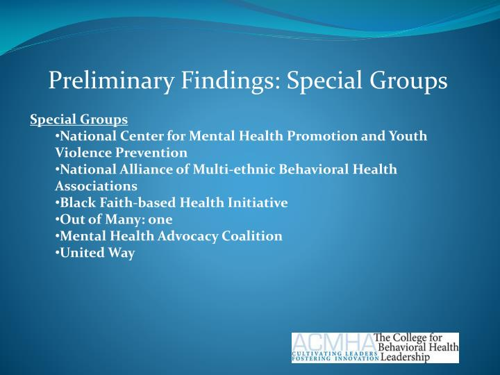 Preliminary Findings: Special Groups