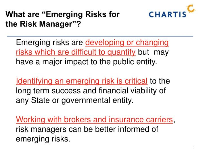 What are emerging risks for the risk manager