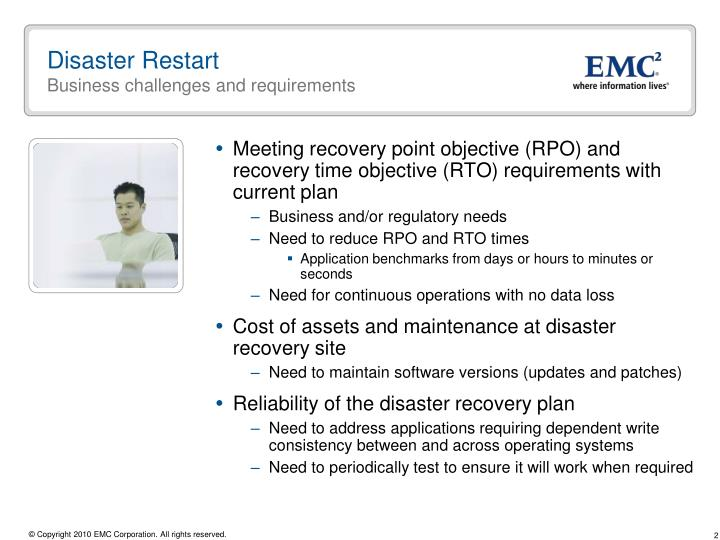 Disaster restart business challenges and requirements