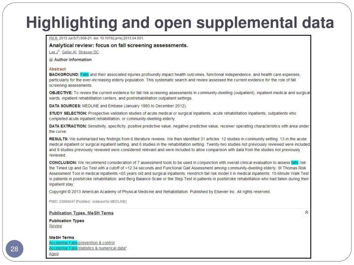 Highlighting and open supplemental data