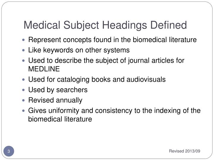 Medical subject headings defined