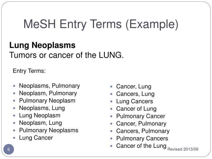 MeSH Entry Terms (Example)