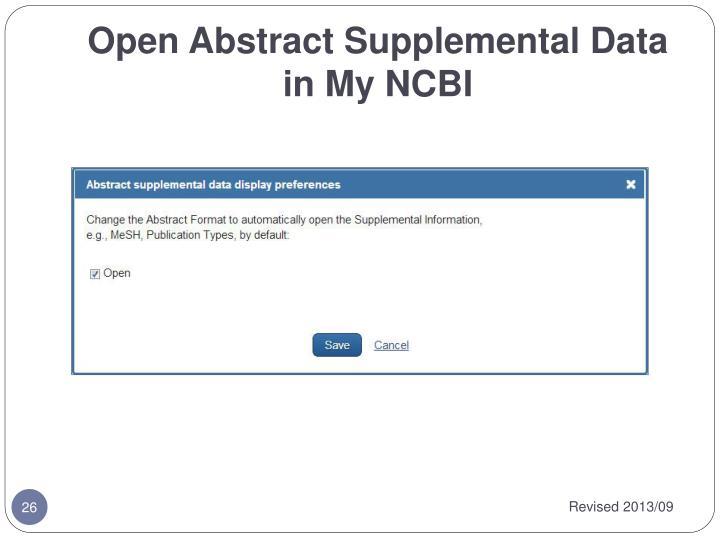 Open Abstract Supplemental Data