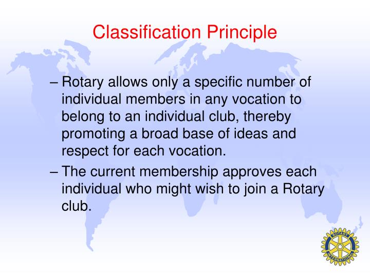 Classification Principle