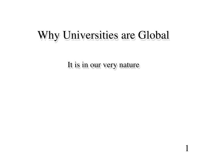 why universities are global n.