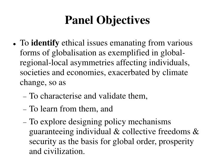 Panel Objectives