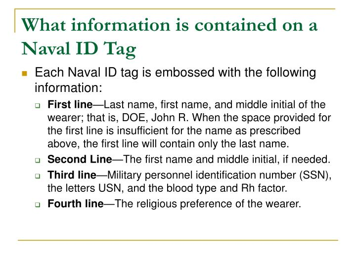 What information is contained on a Naval ID Tag