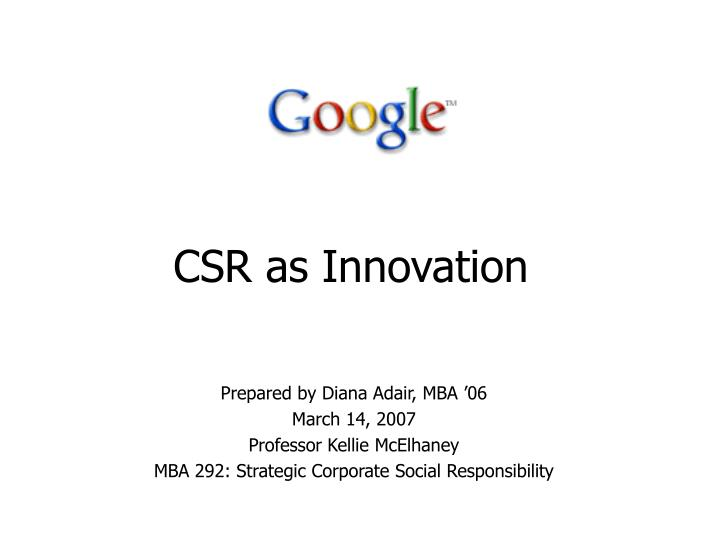csr as innovation n.