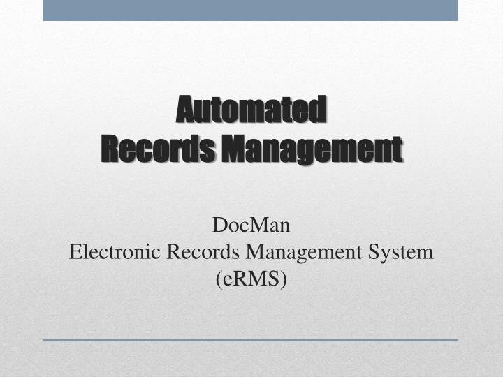 automated records management docman electronic records management system erms n.