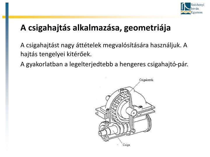 A csigahajtás alkalmazása, geometriája