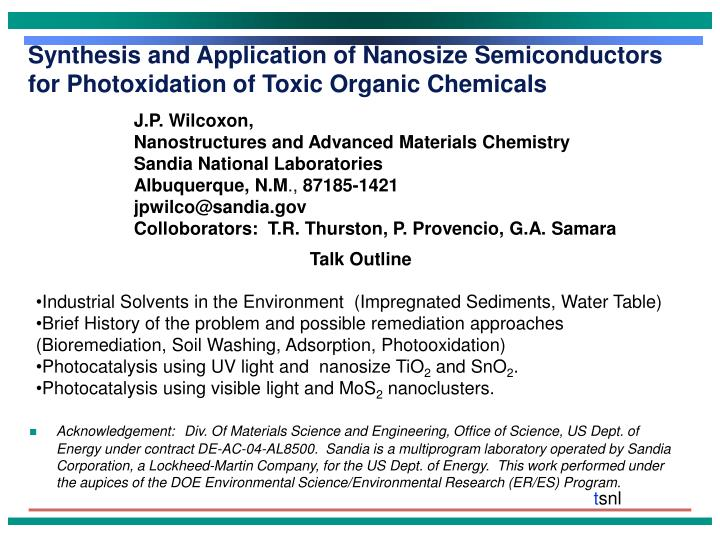 synthesis and application of nanosize semiconductors for photoxidation of toxic organic chemicals n.