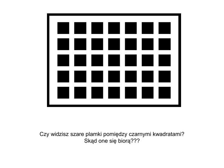 Czy widzisz szare plamki pomiędzy czarnymi kwadratami?