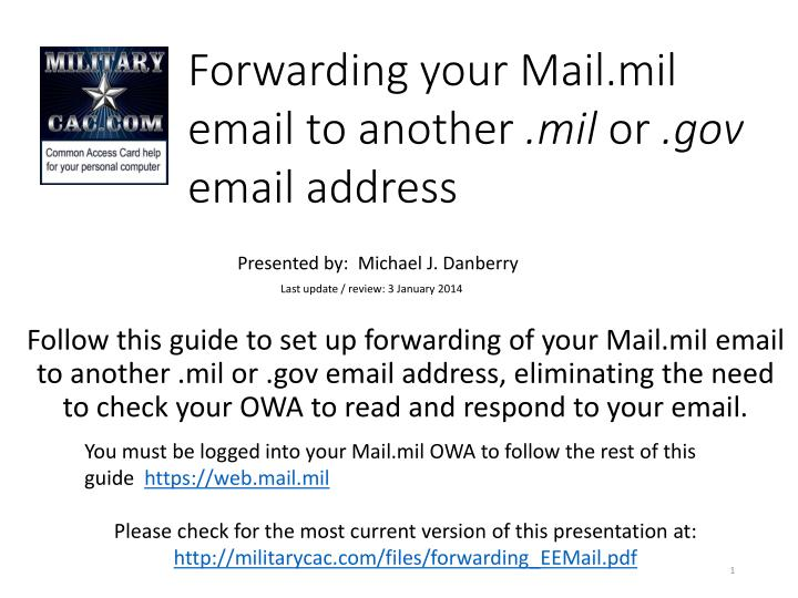 Forwarding your mail mil email to another mil or gov email address
