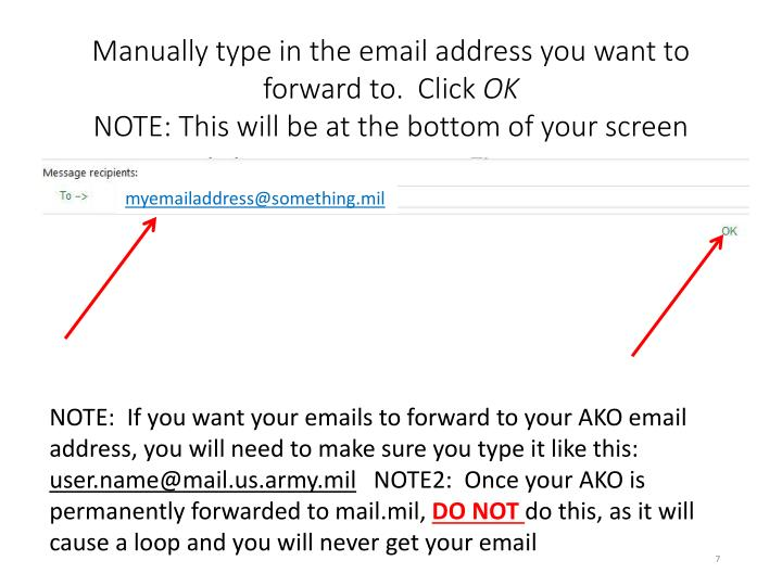 Manually type in the email address you want