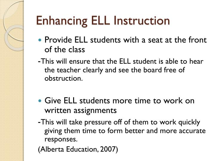 Enhancing ELL Instruction
