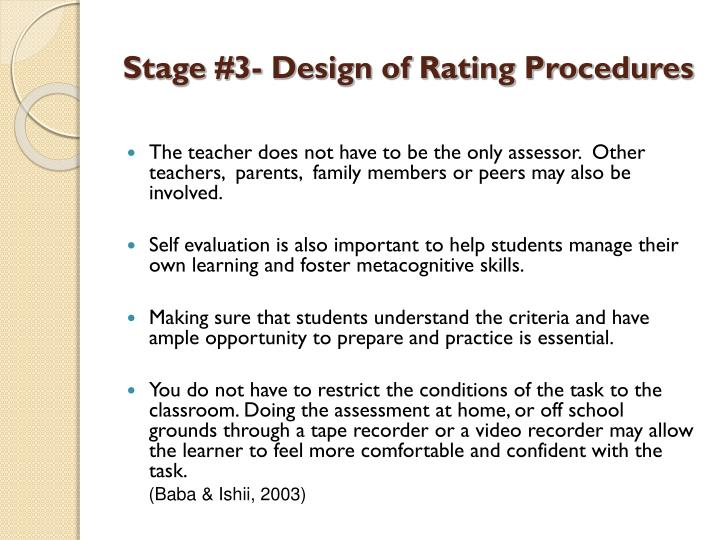 Stage #3- Design of Rating Procedures