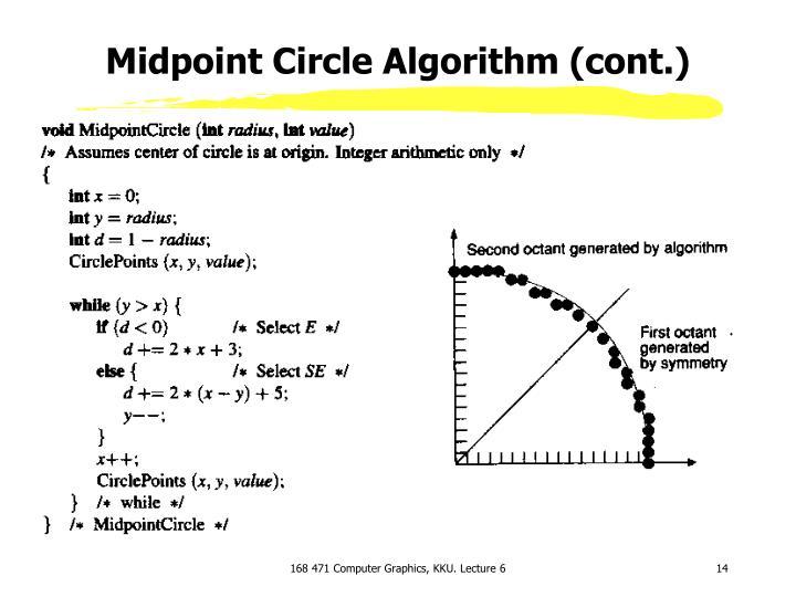 Midpoint Circle Algorithm (cont.)