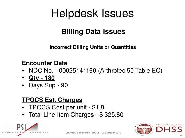 Billing Data Issues