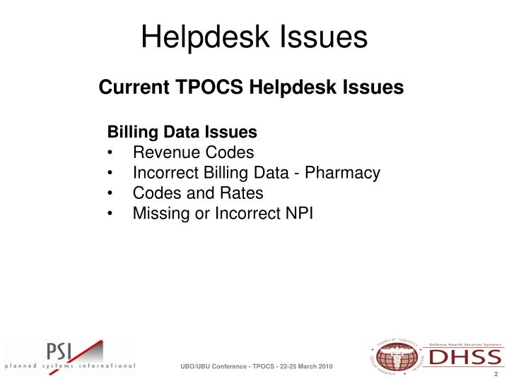 Current TPOCS Helpdesk Issues