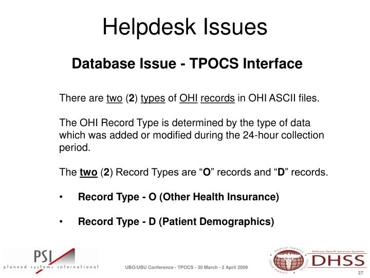 Database Issue - TPOCS Interface