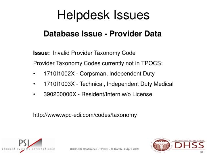 Database Issue - Provider Data