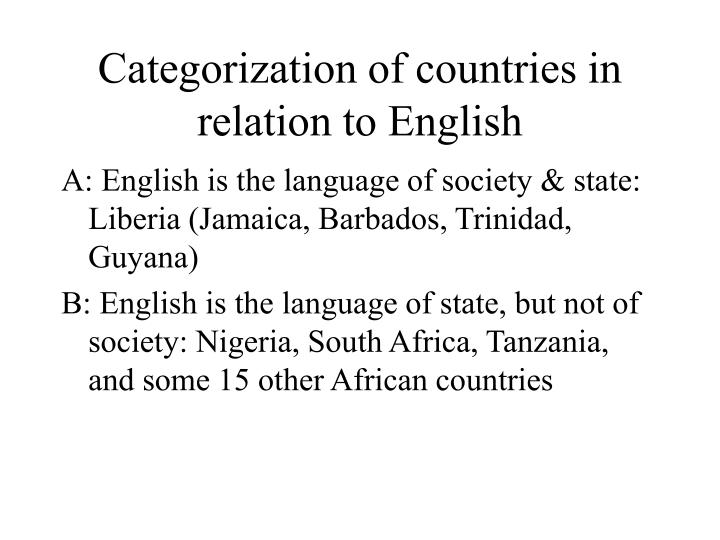 Categorization of countries in relation to English