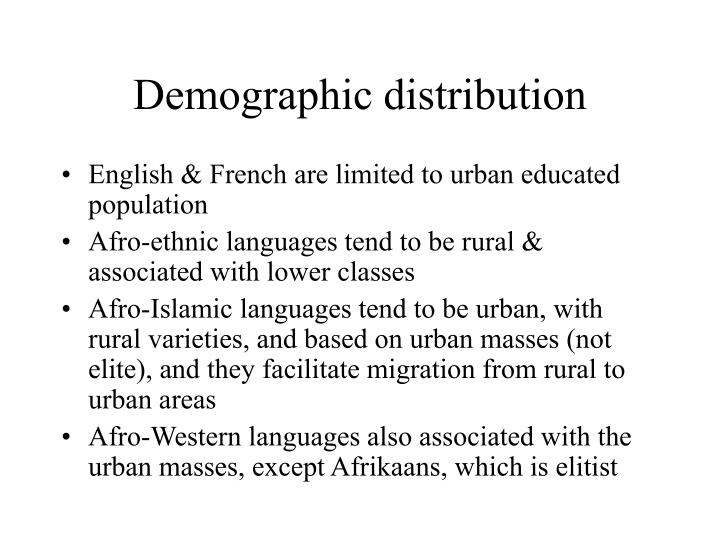 Demographic distribution