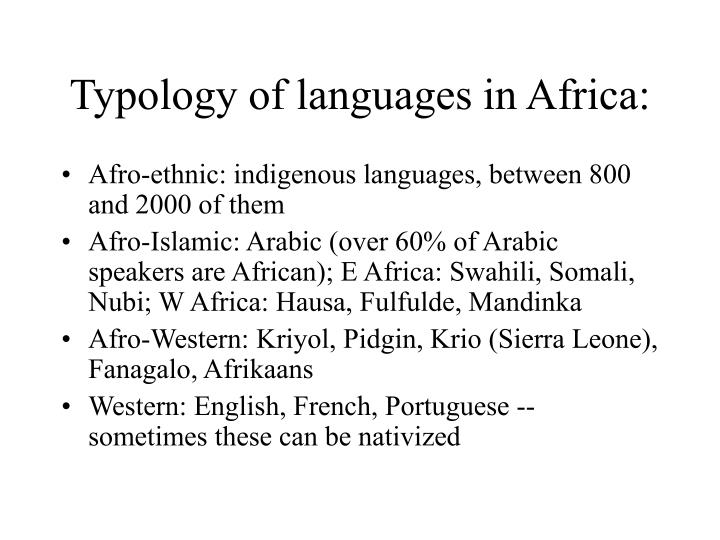 Typology of languages in Africa:
