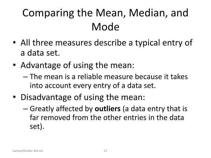 Comparing the Mean, Median, and Mode