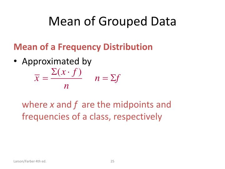 Mean of Grouped Data