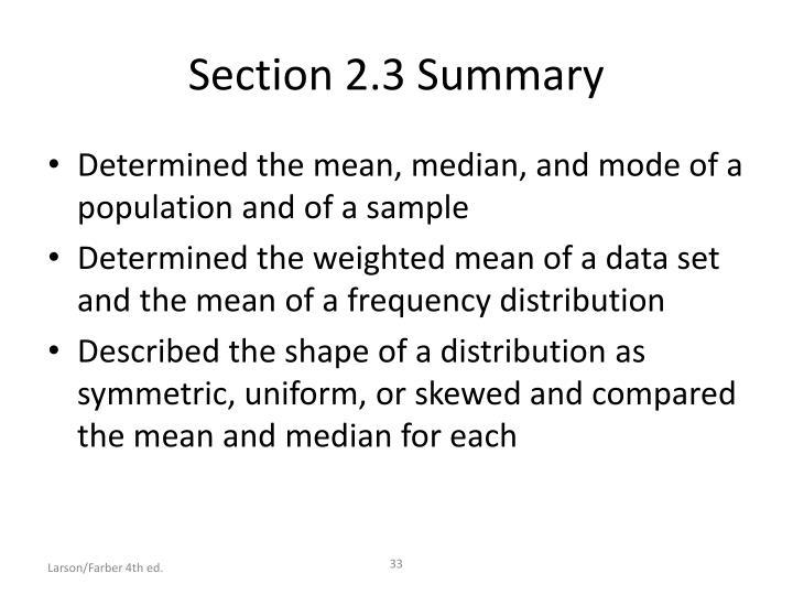 Section 2.3 Summary