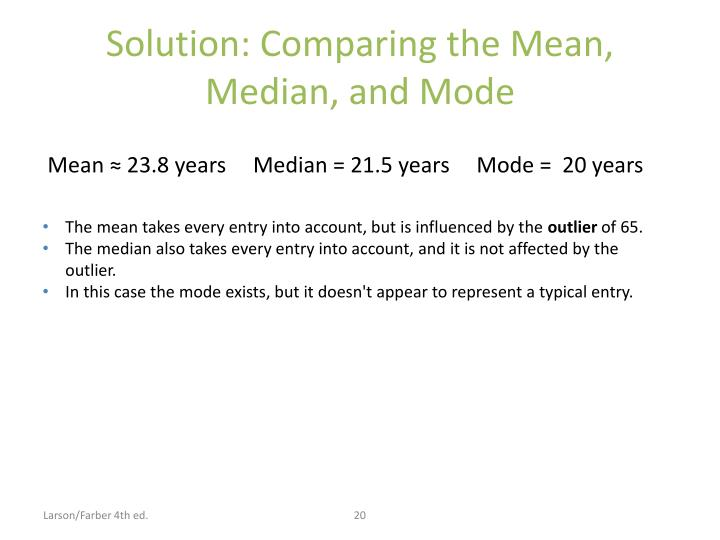 Solution: Comparing the Mean, Median, and Mode