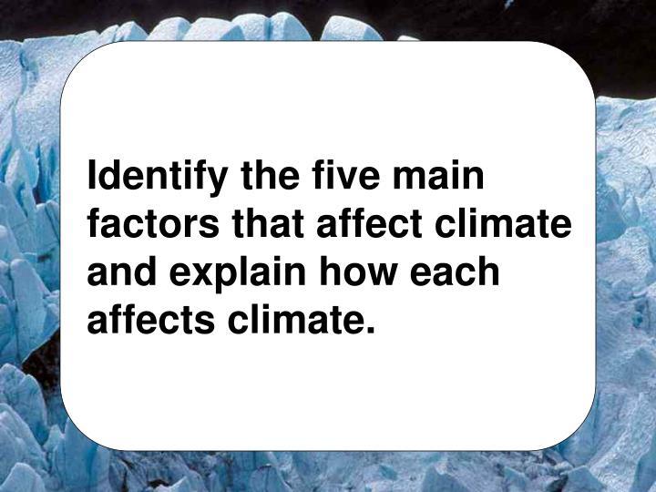 five factors that affect climate