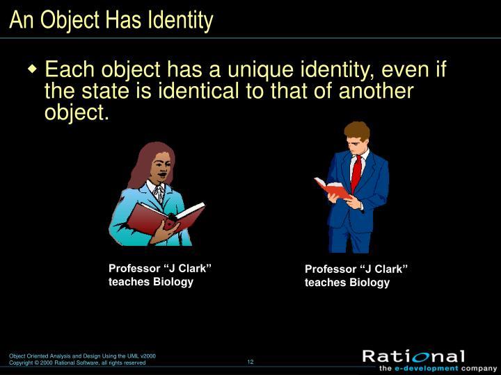 An Object Has Identity