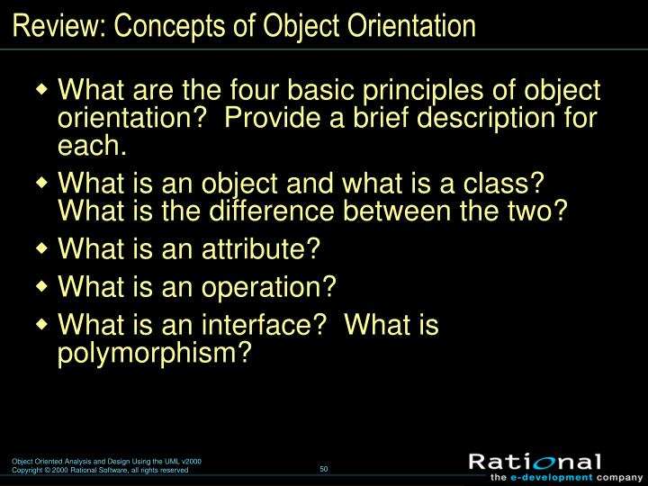Review: Concepts of Object Orientation