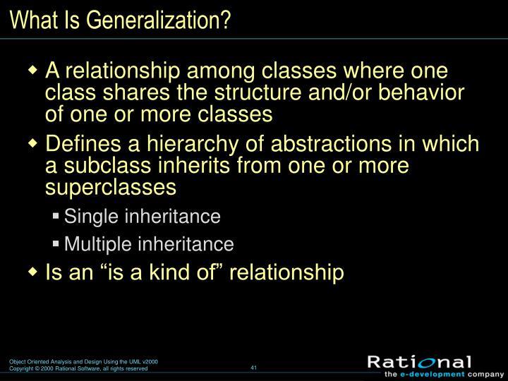What Is Generalization?