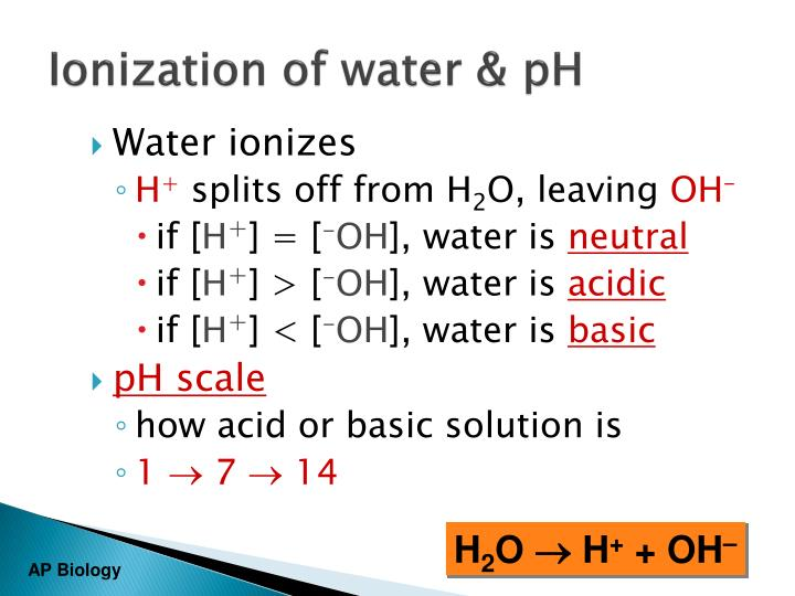 Ionization of water & pH