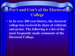 pro s and con s of the electoral college