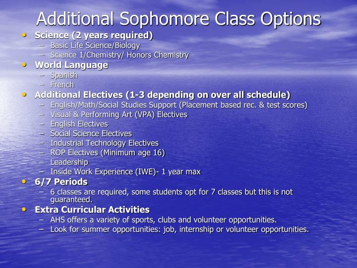 Additional sophomore class options