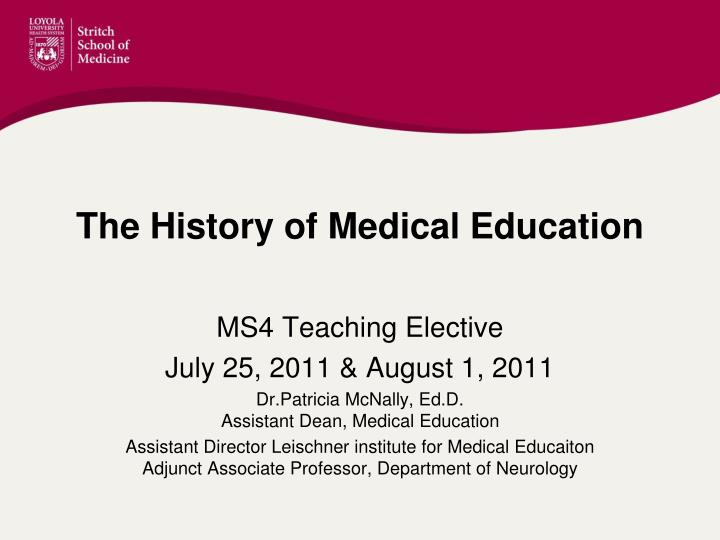 the history of medical education n.