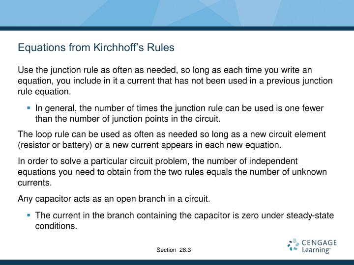 Equations from Kirchhoff's Rules