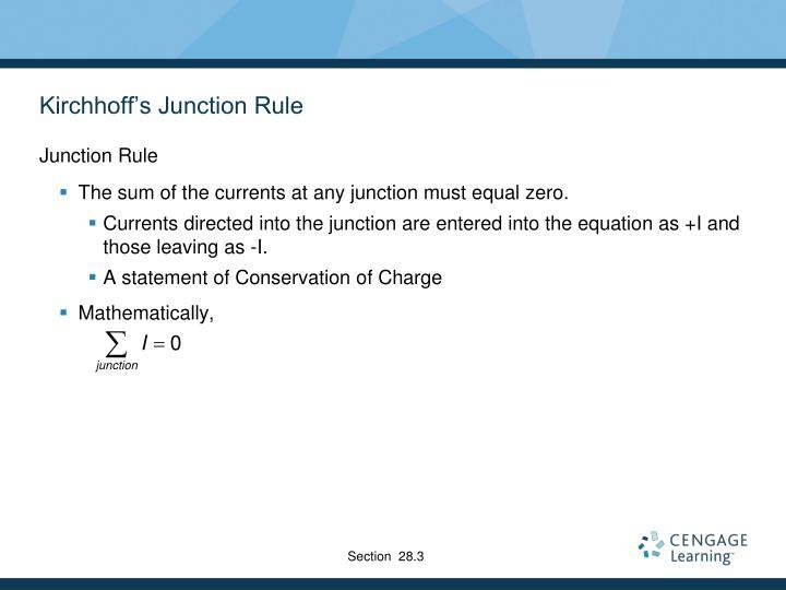 Kirchhoff's Junction Rule