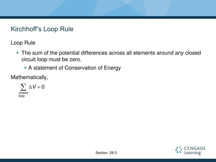 Kirchhoff's Loop Rule