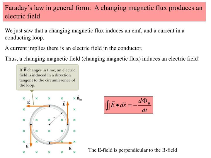 Faraday's law in general form:  A changing