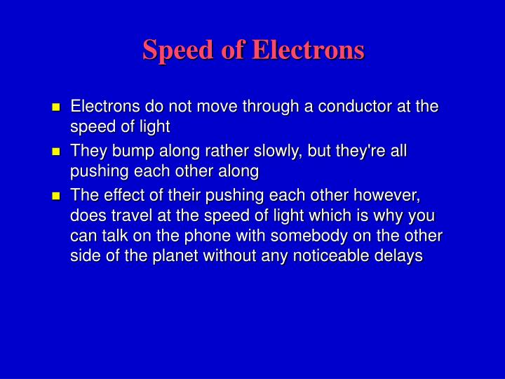 Speed of Electrons