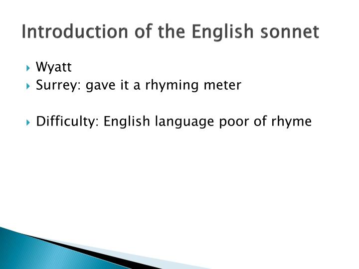 Introduction of the English sonnet